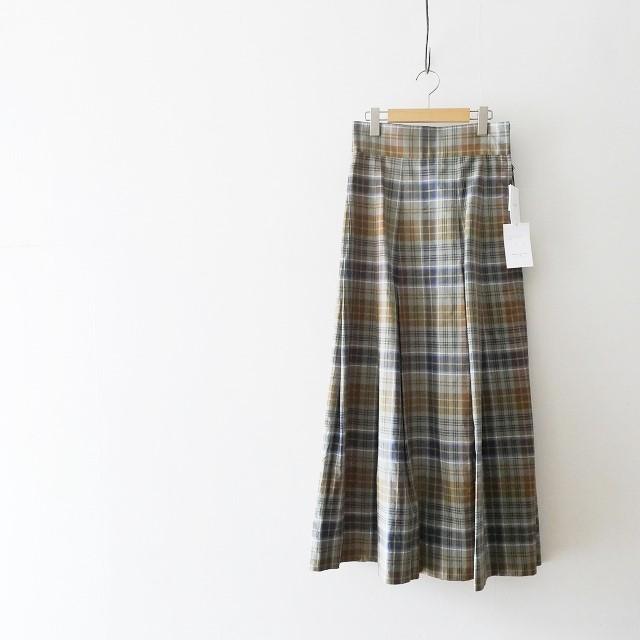 Scye コットンリネン高密度チェックハイウエストスカート 1