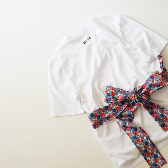 18SS MSGMエムエスジーエム フラワープリントコンビTシャツ