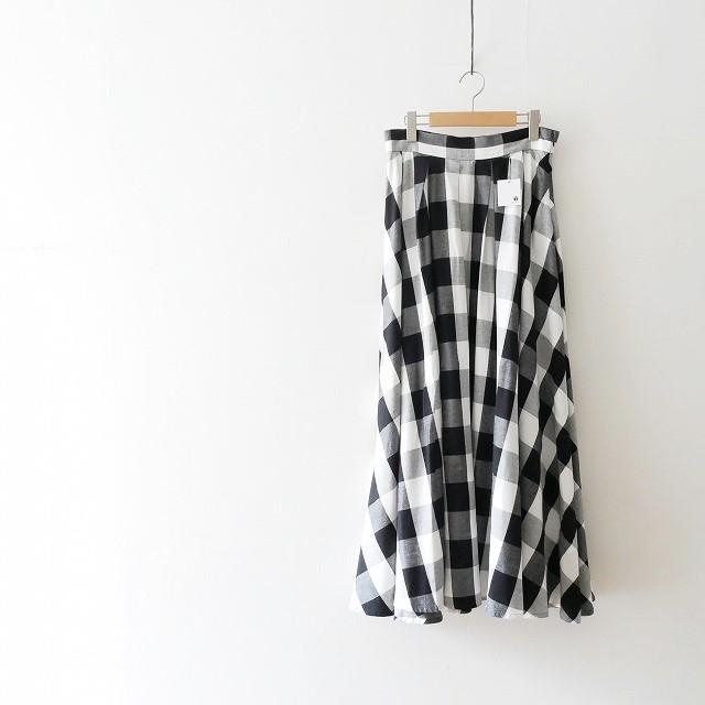 NOBLE 麻混タックフレアロングスカート