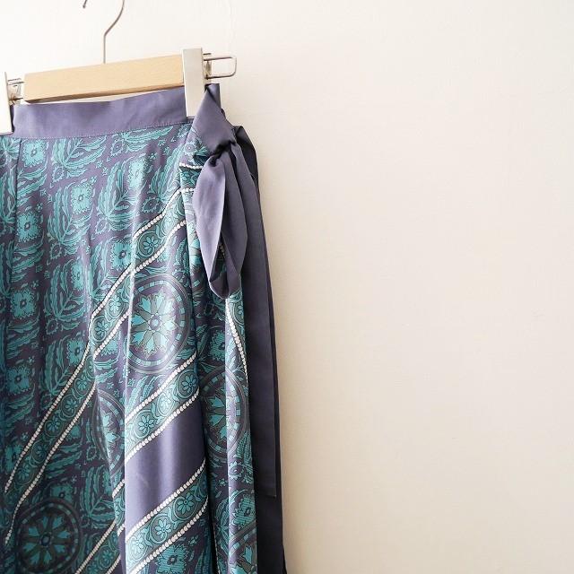 SPICK&SPANスピック&スパン パネルプリント ラップ スカート 18SS (2)