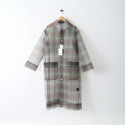 2020SS 未使用 CABaN ポリエステルオーガンジー チェックステンカラーシャツコート