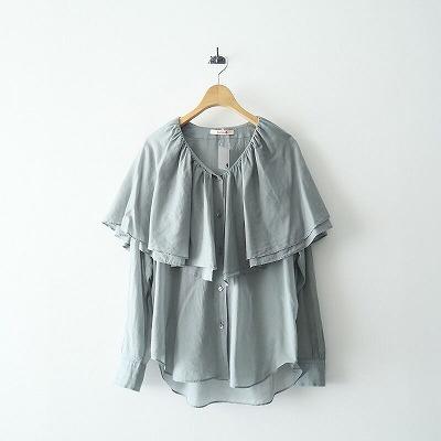 2020 BACCA コットンボイル ラッフルカラーシャツ